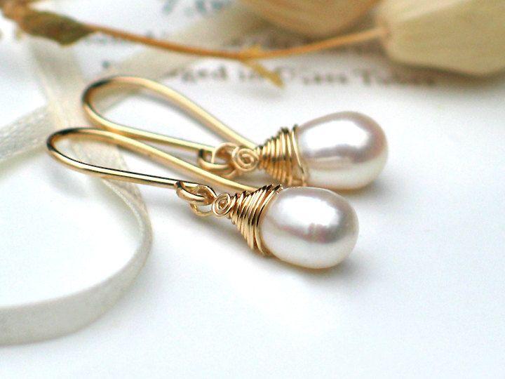 Wire wrapped Teardrop Pearl Earrings