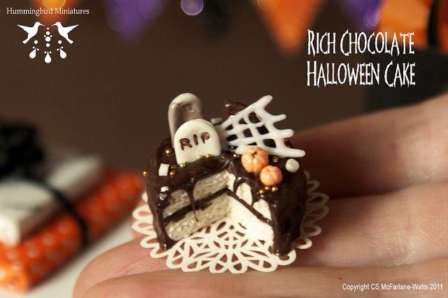 Rich Chocolate Halloween Cake - 1/12 scale dollhouse miniature by Hummingbird Miniatures, via Flickr