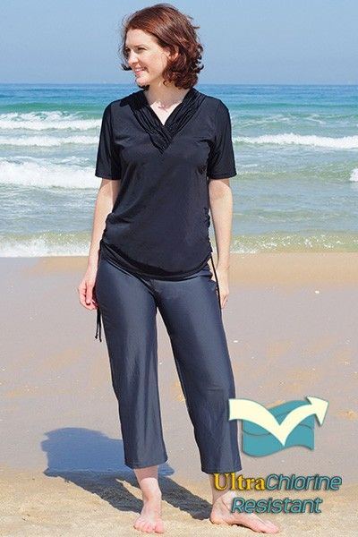 Swim capri pants in charcoal grey, $64. Chlorine proof and can be ...