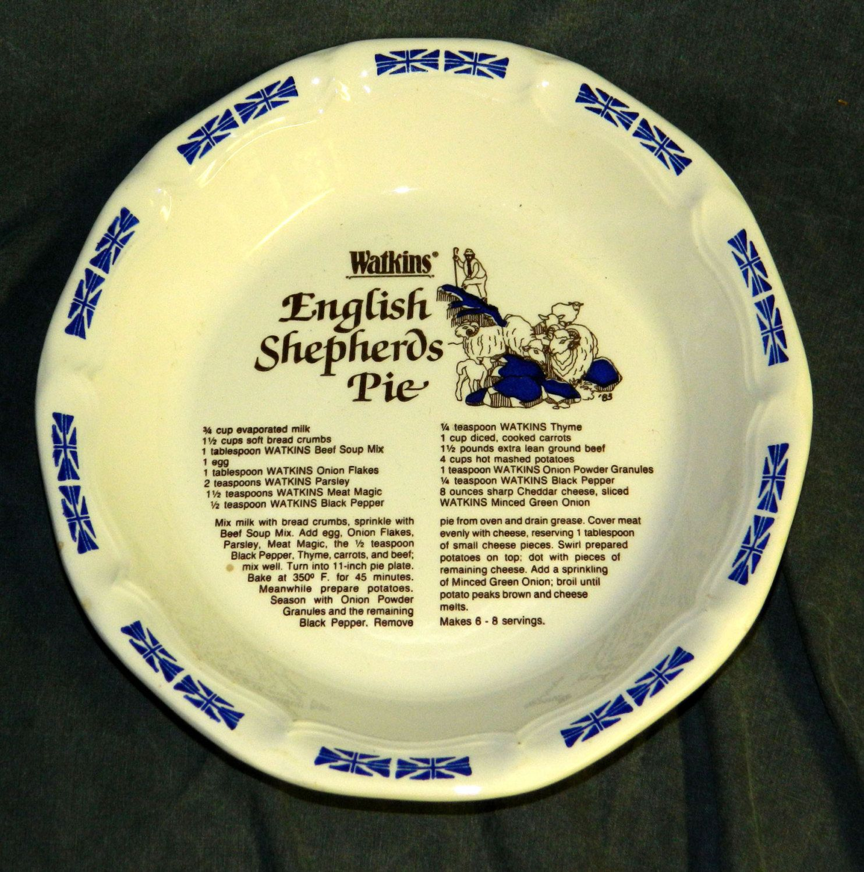 Pie Plate Watkins English Shepherds Pie Dish Vintage Kitchen 8485 Kitchenware Baking Recipe CrabbyCats Crabby Cats & Pie Plate Watkins English Shepherds Pie Recipe Vintage Kitchen 8485 ...