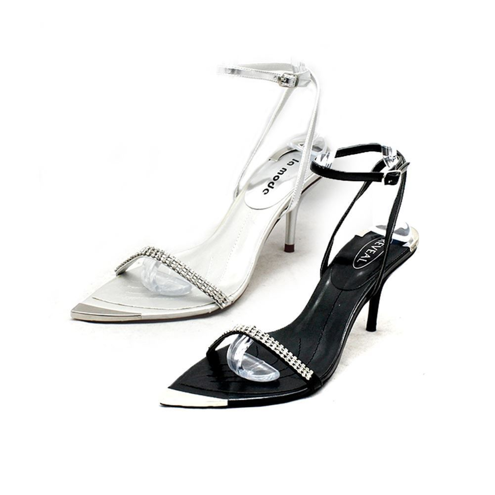 SendIt4Me Black Diamante Pointed Toe with Silver Toe Cap Party Sandals