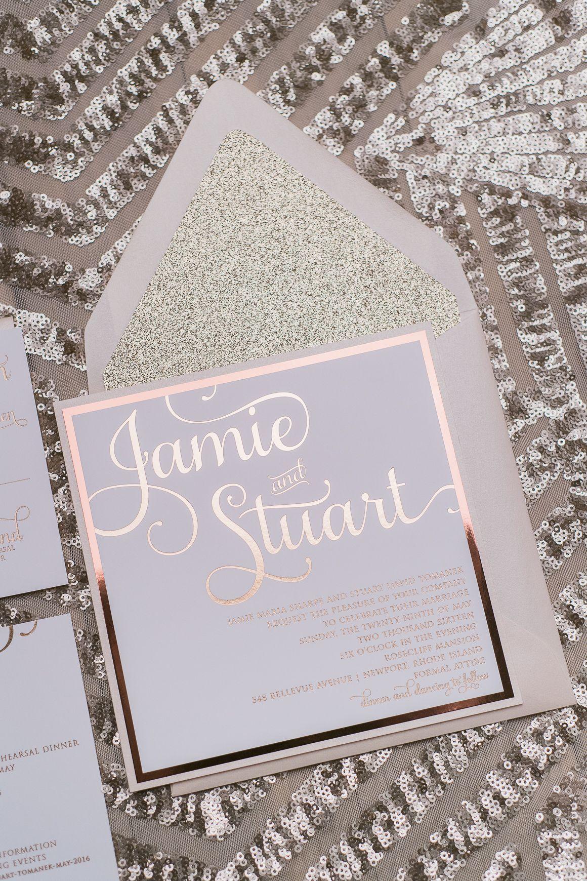 Rose Gold Foil Lovin\'! Our Best-Selling Wedding Invitation ADELE ...