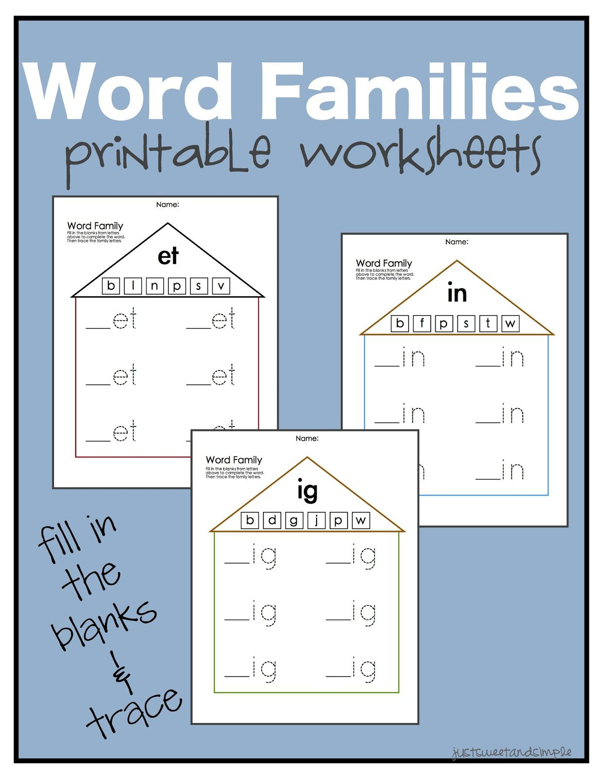 Just Sweet And Simple Preschool Practice Word Family