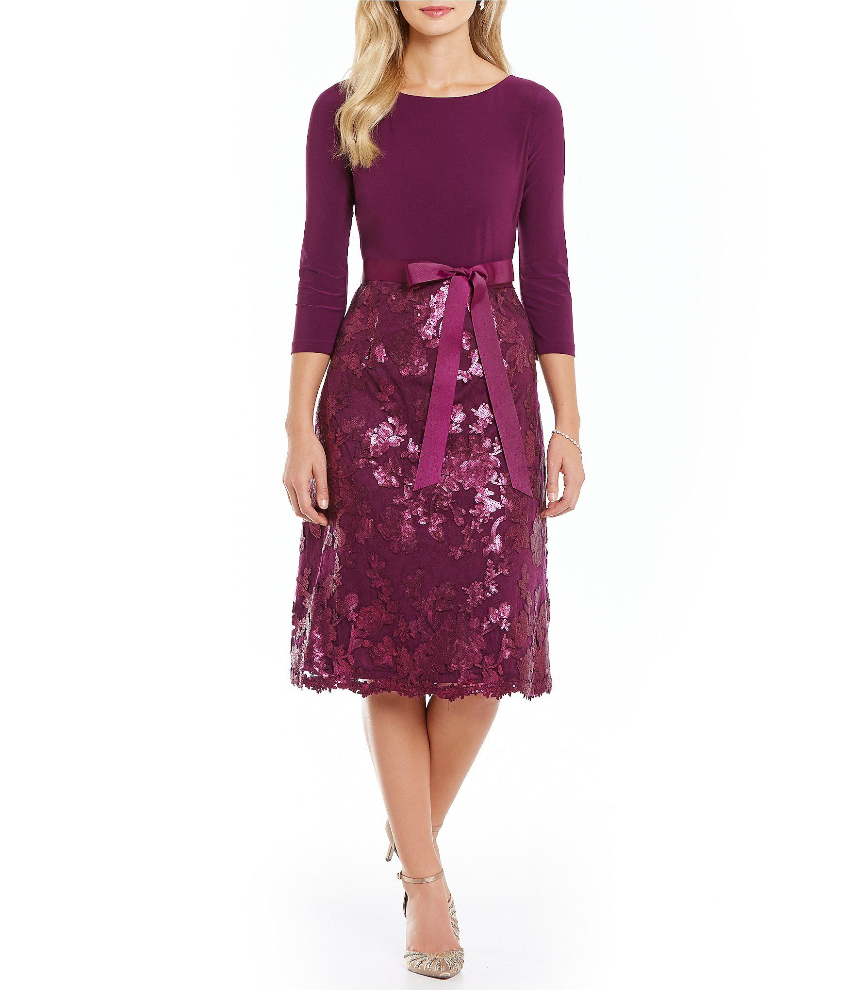 Adrianna papell jersey top sequin fit and flare dress dillards adrianna papell jersey top sequin fit and flare dress dillards ombrellifo Gallery
