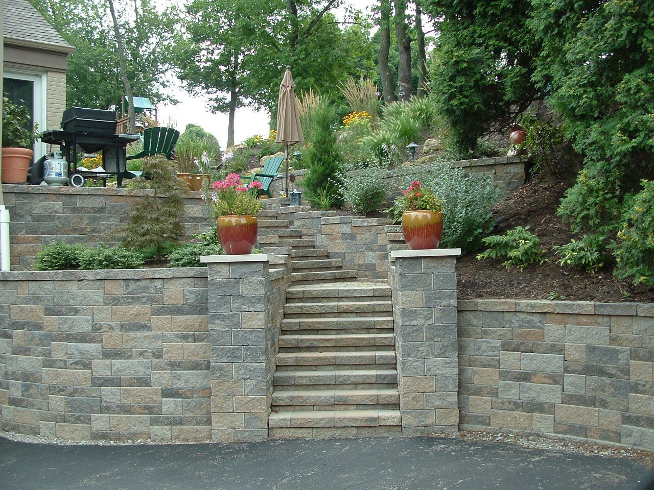 Upper st clair retaining wall stone pillars steps for Landscape blocks