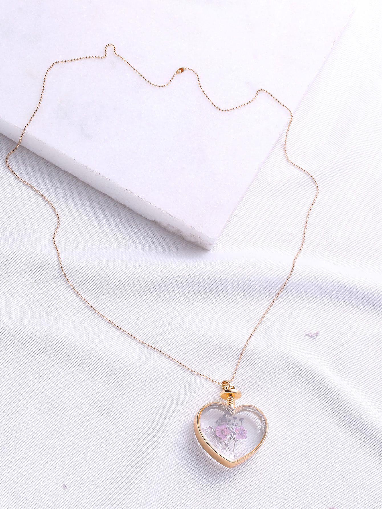 Flower heart pendant chain necklace diamond jewellery pinterest