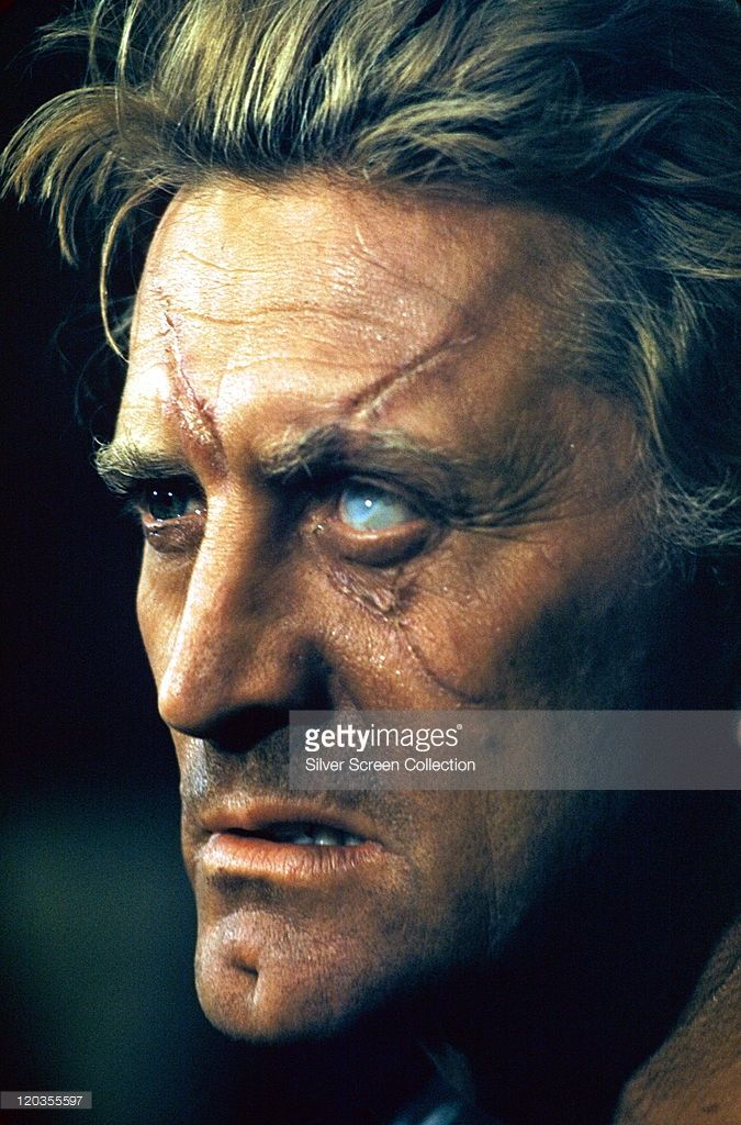 Kirk Douglas, US actor, with a milky-white dead eye and ...