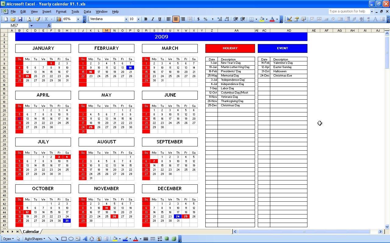 Excel Calendar 2009 Excel Calendar Template Event Calendar