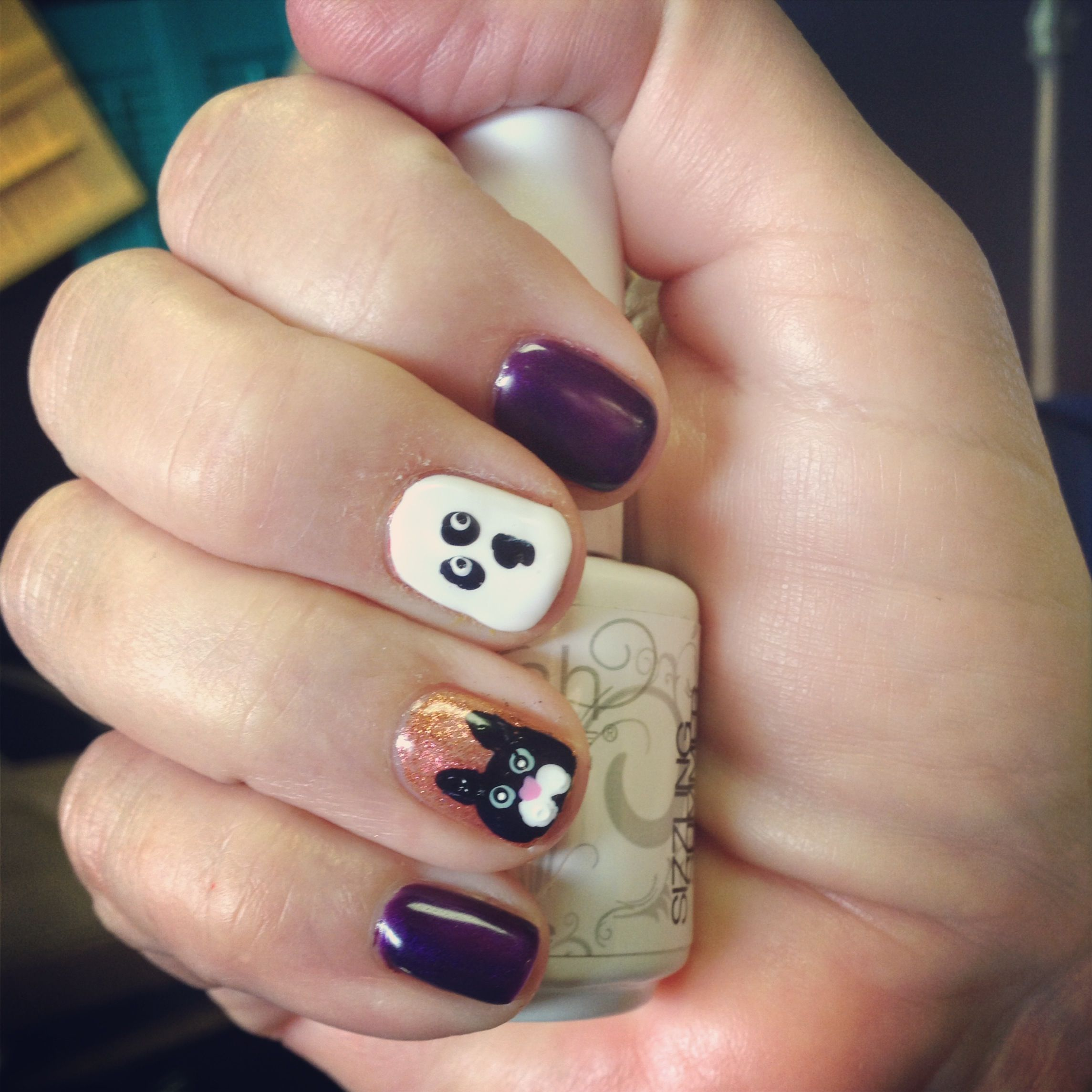 Fun halloween nails with cute ghosts and cats!!! Love fall ...