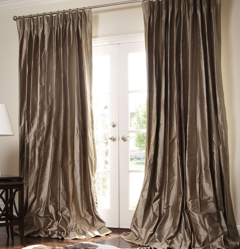 solid silk custom drapes by drapestyle in bronze dupioni - Silk Drapes