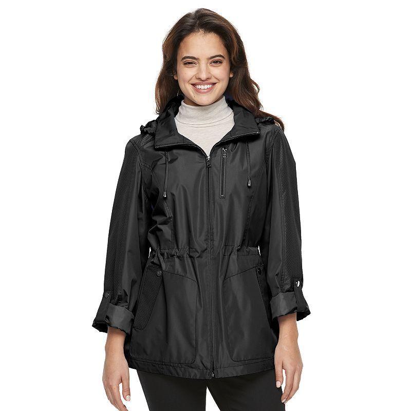 Women's Croft & Barrow® Hooded Roll-Tab Anorak Jacket, Size: Medium, Black