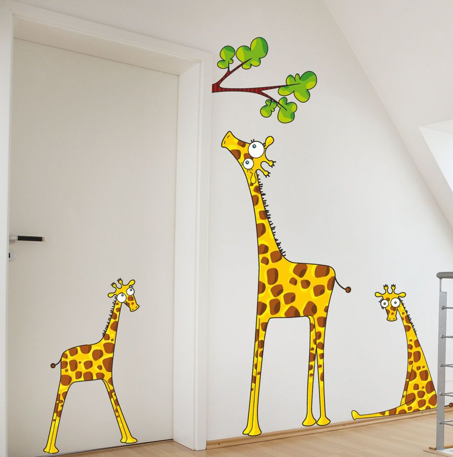 White Themed Animal Kids Wall Decor Ideas With Amazing Three Giraffes  Pattern Wall Sticker Complete With The Green Leafs For Interior Kids Room