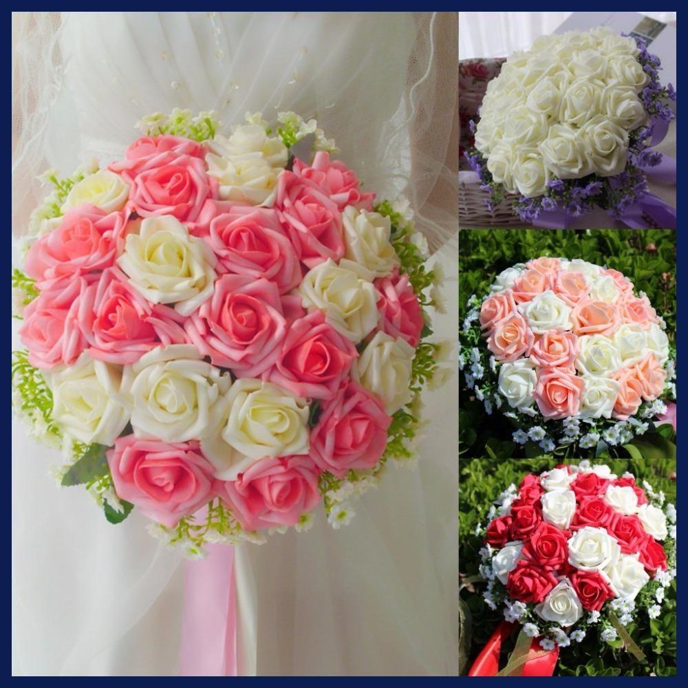 Artificial 24 Pieces Rose Flower Bridal Bouquet Buque Noiva Branco
