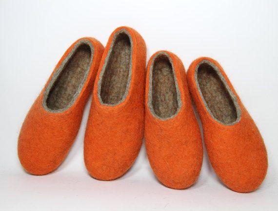 Felt Wool Orange Slippers Pumpkin Halloween Slippers Unisex Wet