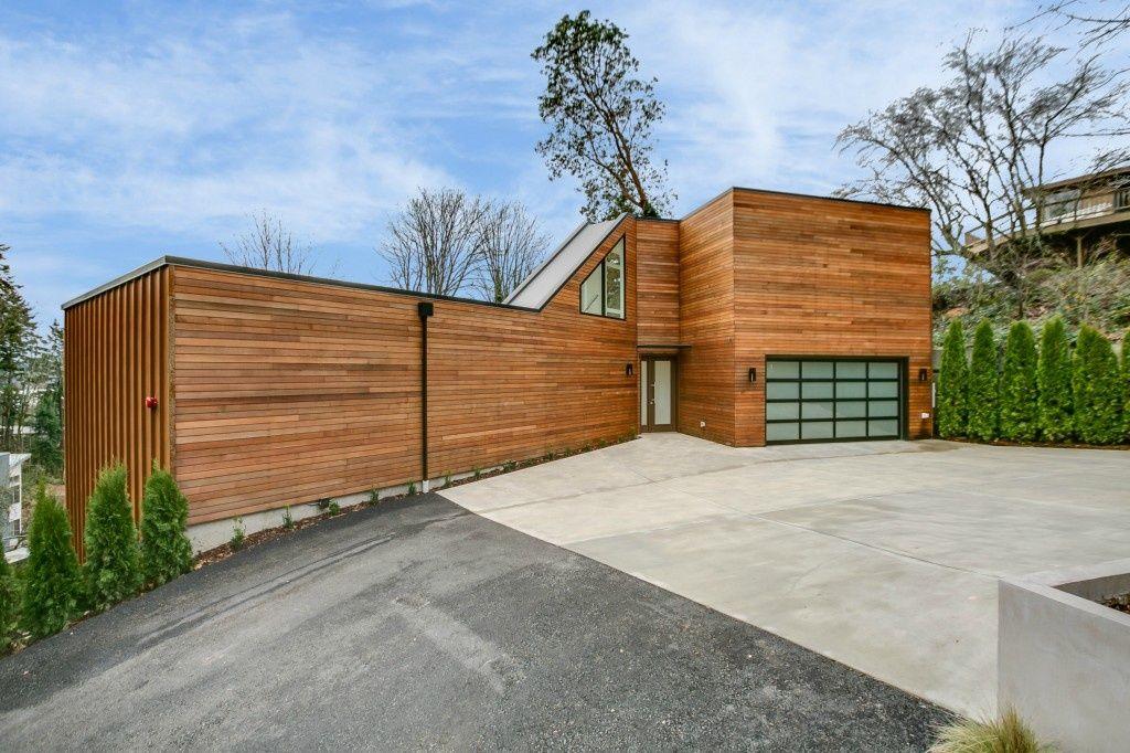 contemporary exterior of home with real cedar western red cedar