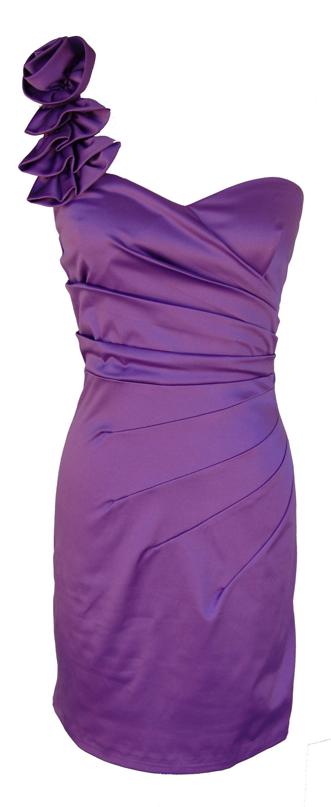 Purple One Shoulder Gathered Cocktail Dress | Vestido elegante ...