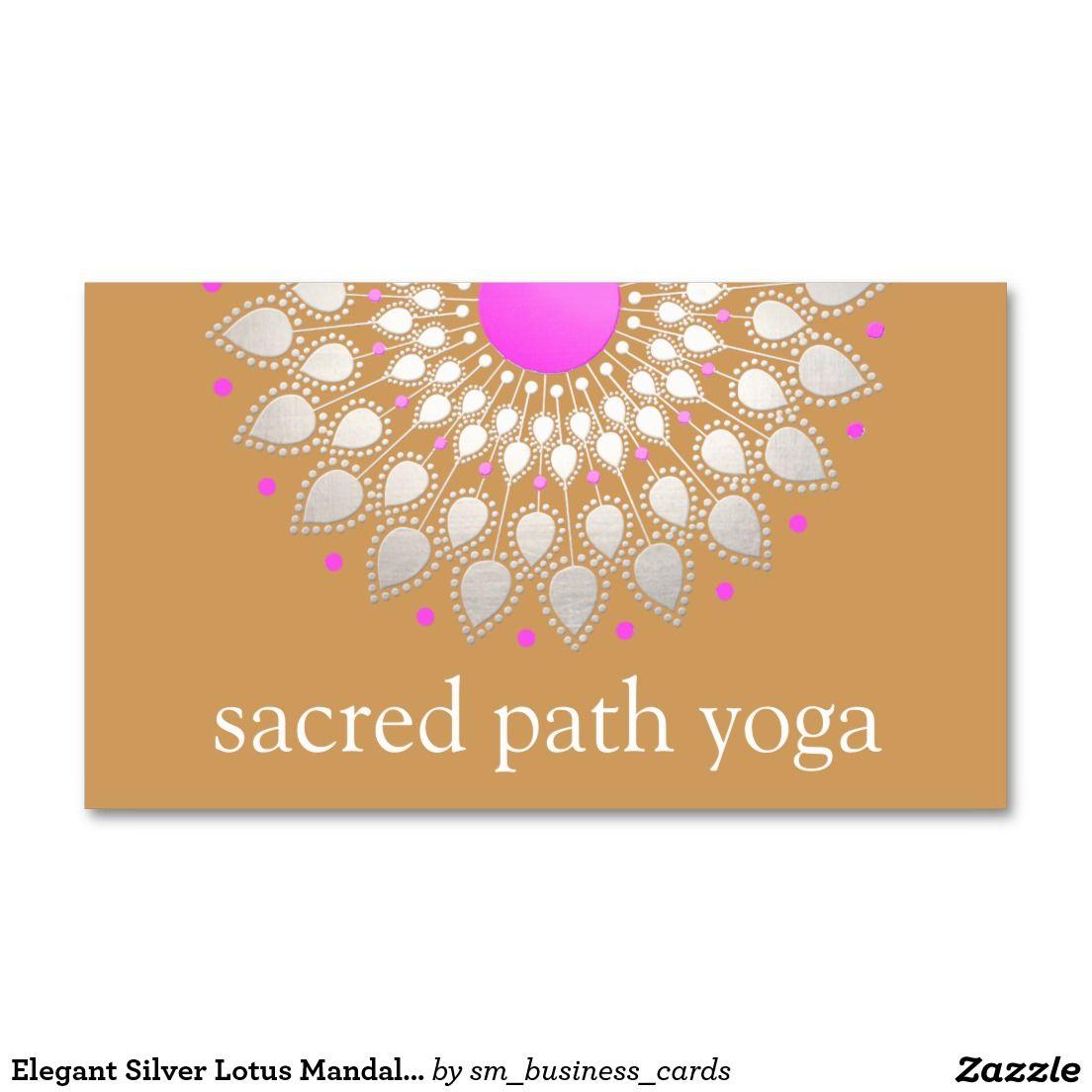 Elegant Silver Lotus Mandala Yoga Instructor Business Card -perfect ...