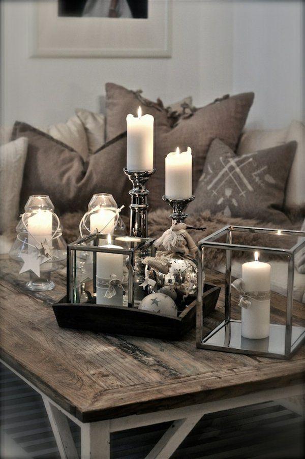 Deko wohnzimmer kerzen  rustikale wohnzimmermöbel deko mit kerzen | Deko Bad | Pinterest ...
