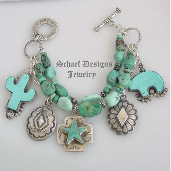 Schaef Designs dry creek & royston turquoise & sterling silver 3 strand braclet with Rocki Gorman, Vince Platero, Gary G Southwestern Native American charms   New Mexico