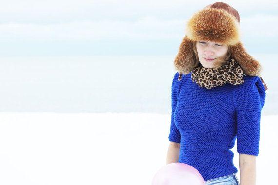 Electric blue women hand knit summer sweater modern by AlisaDesign, $120.00