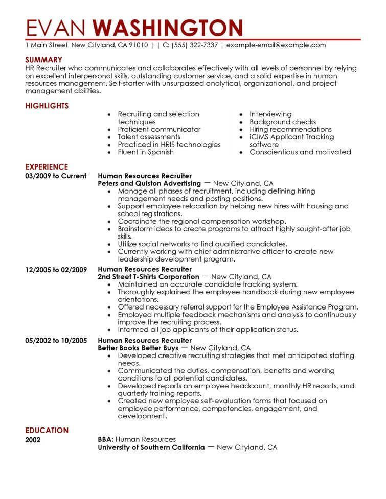 Resume Examples Human Resources Examples Human Resources Resume