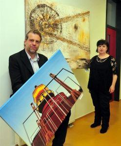 Bilder aus dem Neanderland in der FHDW -  Erste gemeinsame Ausstellung der beiden heimischen Künstler Volker Rapp und Katy Schnee in der FHDW Mettmann.