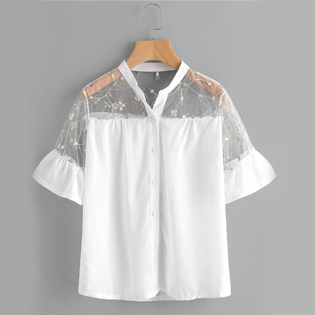 e14c4a2e6 Floral Mesh Yoke Shirt White Embroidery Sheer Blouse Women Button Up Tops  Ruffle Cuff Patchwork Cute Blouse