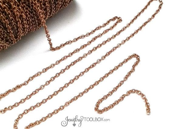 30+ feet 10 yards Copper Round Textured Cable Link Chain links 6mm  FCH0356b