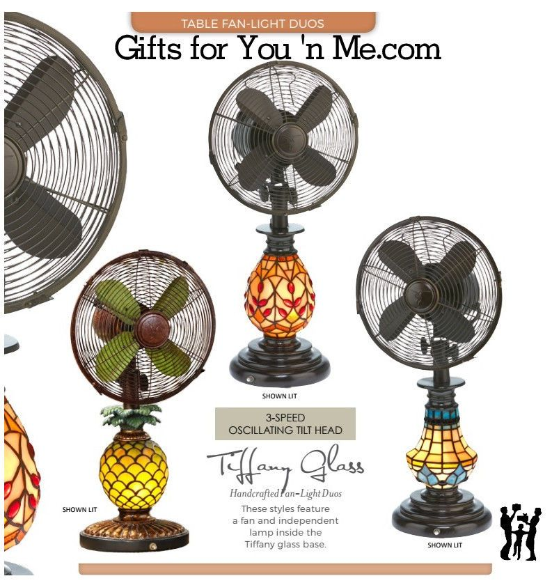 10 Table Fan Head 3 Speed Oscillating 20 Watt Motor Includes 7 Watt Nightlight Bulb Mosaic Glass Pineapple Illuminates When Night Fan Light Glass Light