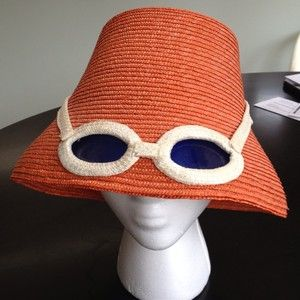 Vintage straw hat with built in sunglasses! | Vintage