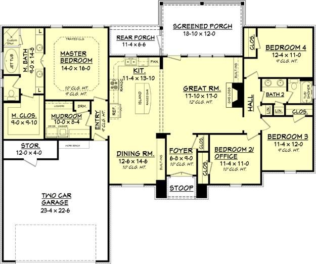 House Plan 041 00082 European Plan 2 000 Square Feet 4 Bedrooms 2 Bathrooms In 2021 Small Floor Plans House Plans One Story New House Plans