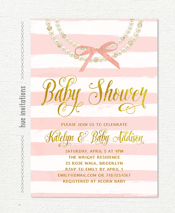 223c467ad pearls baby shower invitation, gold pink bow glitter diamonds pearl necklace  girl baby shower invite