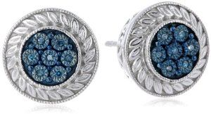Sterling Silver Blue Diamond Accent Stud Earrings (0.04cttw, I2-I3 Clarity)