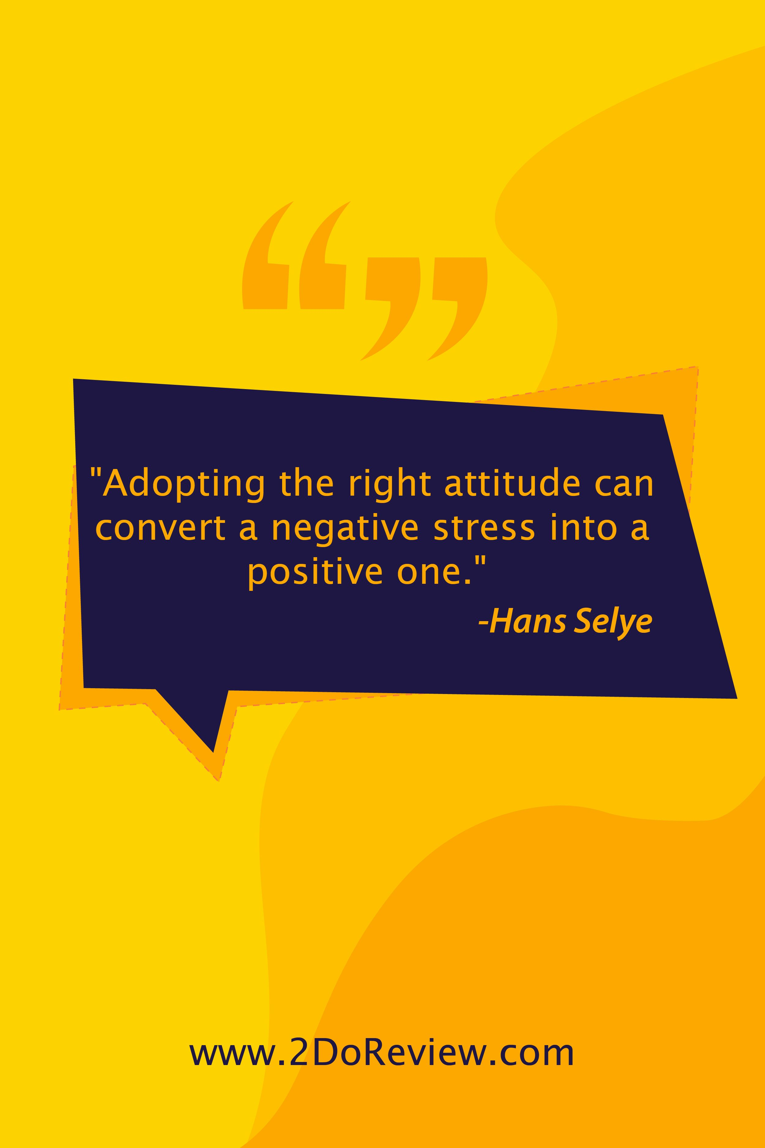 Adopting The Right Attitude Can Convert A Negative Stress Into A