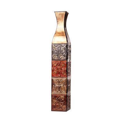 Elements Color Tile Embossed Iron Decorative Vase