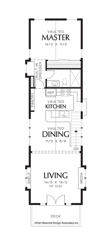 Upper Floor Plan Of Mascord Plan 21107   The Skycole   Contemporary  Craftsman Plan Perfect For