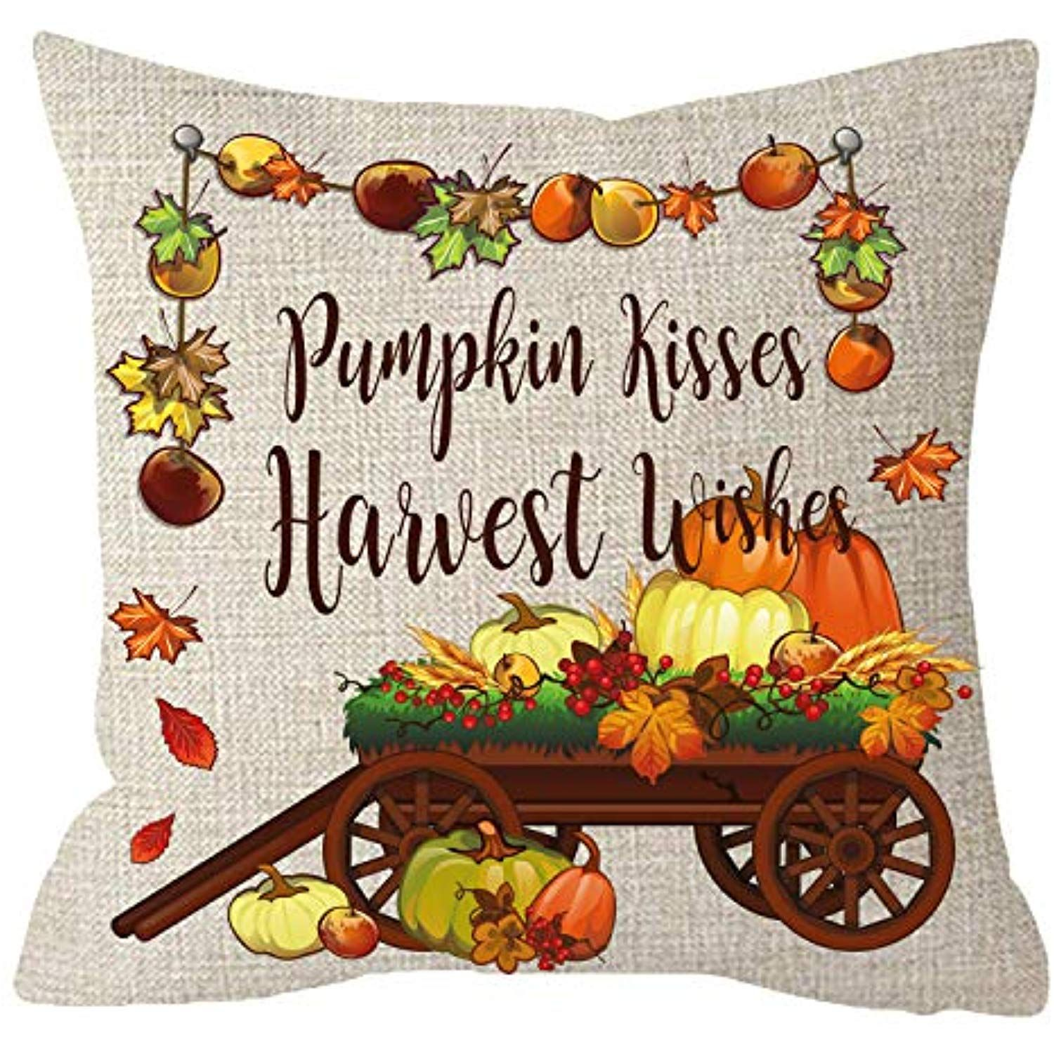 Niditw Nice Gift Golden Autumn Blessing Be Thankful Fall Leaves Pumpkins Kisses Harvest Wishes Apple Tr Linen Throw Pillow Square Pillowcase Throw Pillow Cases