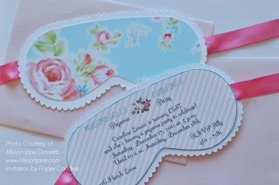 Shabby Chic Eye Mask Invitation Printable By Paper Candee
