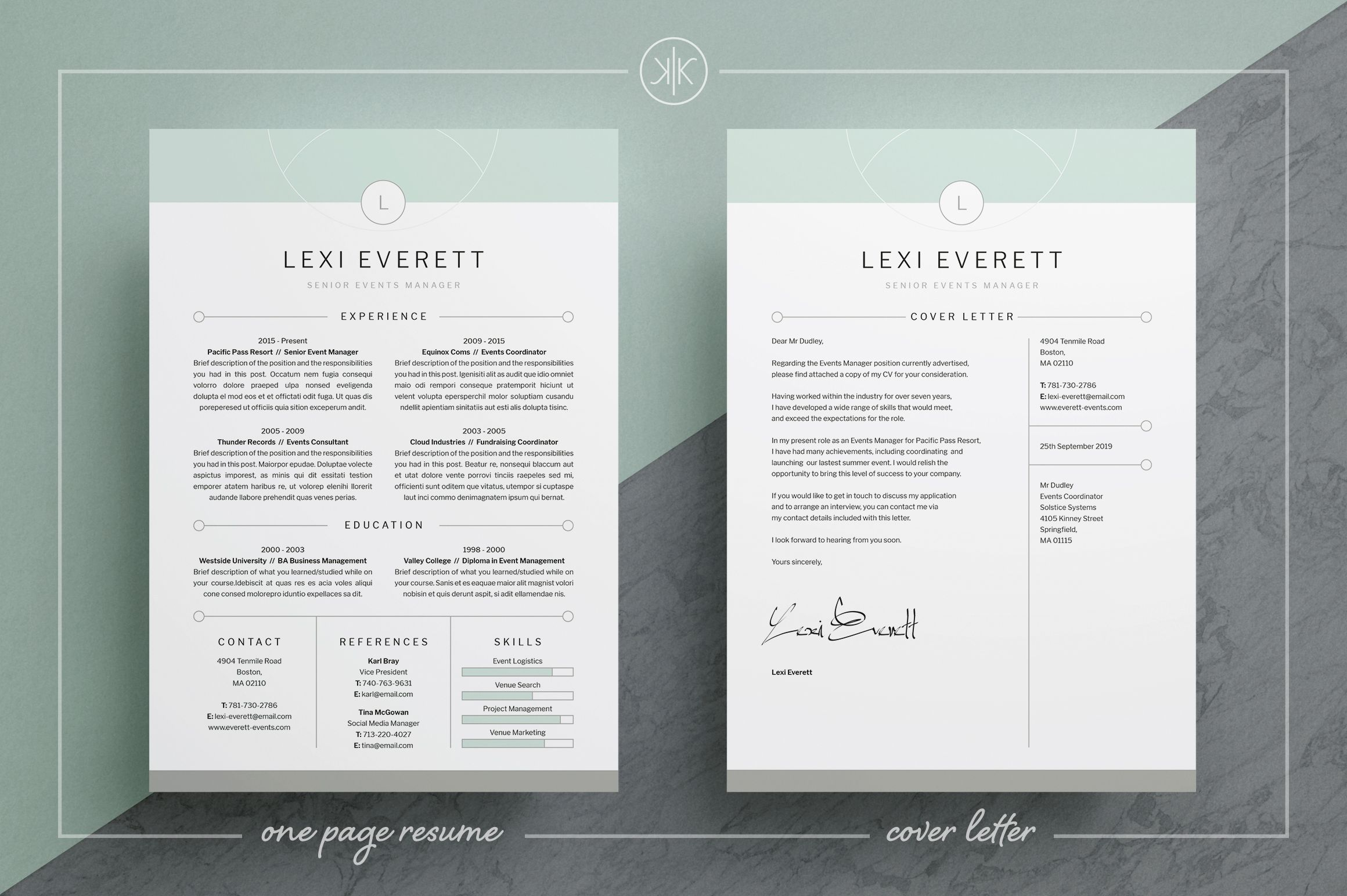 ResumeCV Lexi Free Cover Letter Templates