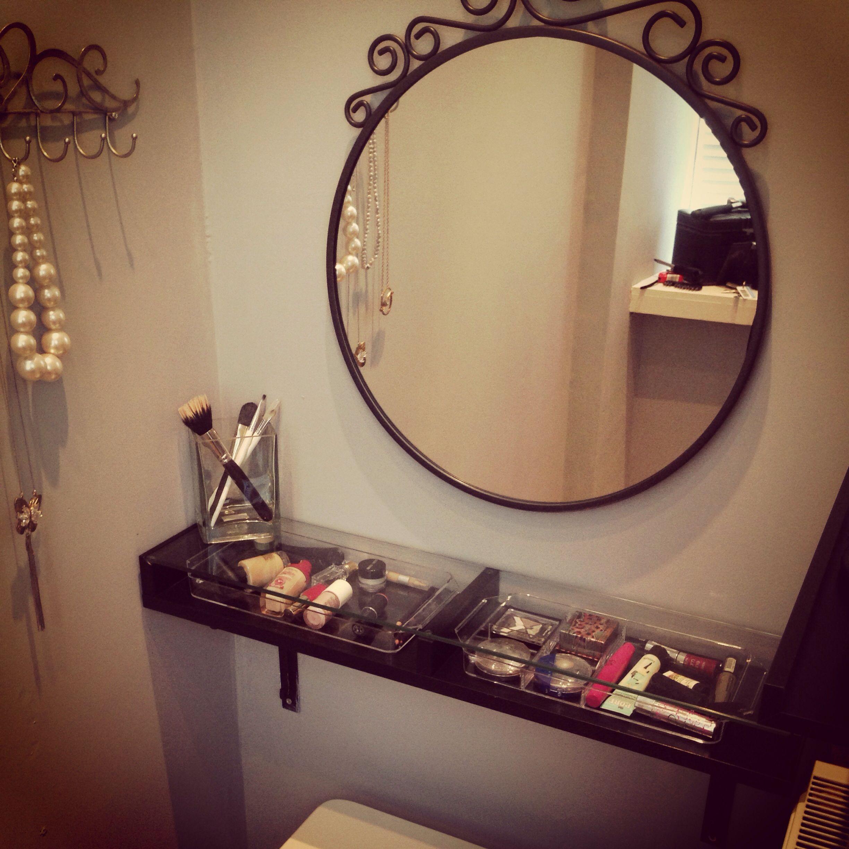 DIY dressing table Ikea Ekby shelf Mirror