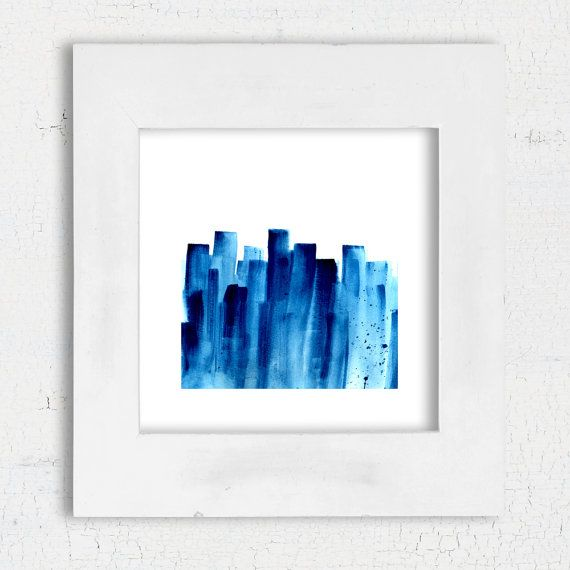 Navy Blue Abstract watercolor painting Square print by DYAStudio