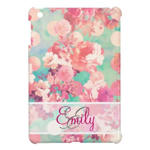 Monogram Pink Retro Floral Pattern Teal Polka Dots iPad Mini Cover We have the best promotion for you and if you are interested in the related item or need more information reviews from the x customer who are own of them before please follow the link to see fully reviewsDeals          ...