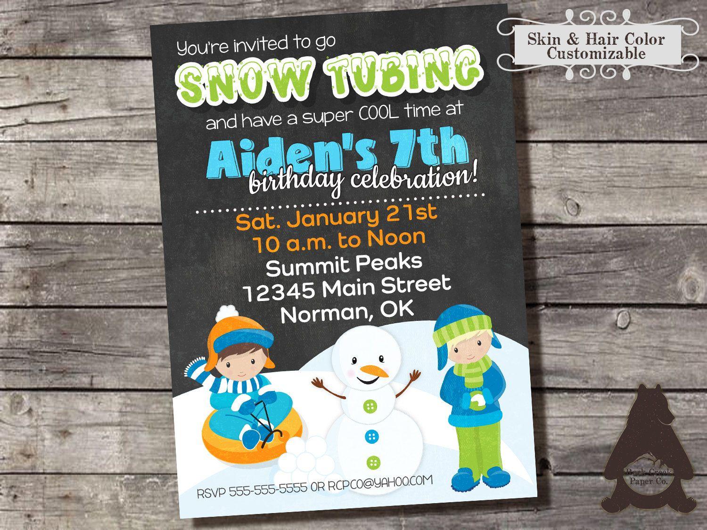 Snow Tubing Birthday Party Invitation, Sledding Birthday Party, Snow ...