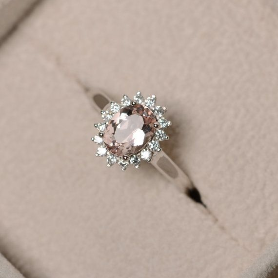 Natural morganite ring pink gemstone sterling silver engagement