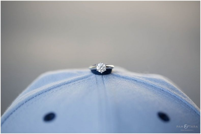 Show us the bling...engagement rings! An engagement session incorporating the love for sports.
