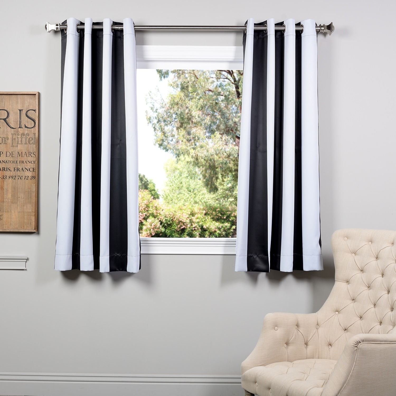 Exclusive Fabrics Awning Black White Stripe 63 Inch Blackout