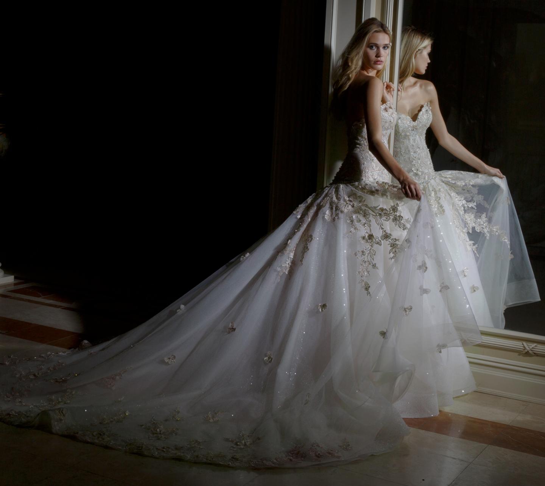 Demetrios White Drop Waist Ballgown With Beaded Bodice: Amalia Carrara Collection For Eve Of Milady Style 352