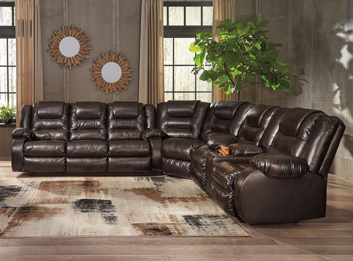 Vacherie Chocolate Reclining Sectional In 2020 Reclining Sectional Loveseat Living Room 3 Piece Sectional Sofa