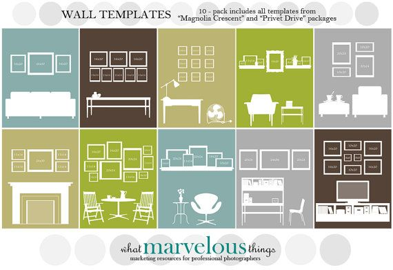 Wall Display Template 10-pack | Collage, Photo arrangement and Walls