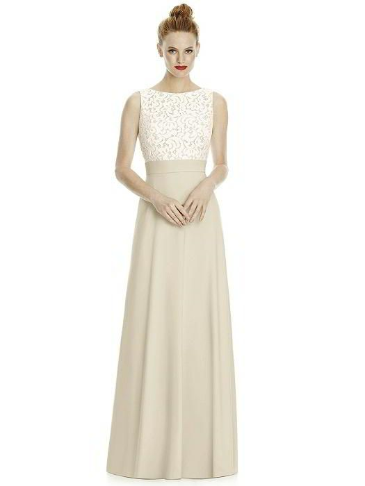 3628371c65 Lela Rose Bridesmaid style LR240 in Palomino. From Dessy Group. Full length  sleeveless dress w  bateau neckline gabriella lace bodice and deep v-back.  Crepe ...